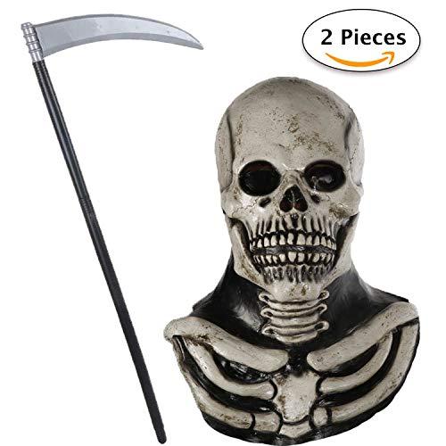 Jonami Grusel Totenkopf Skelett Maske, Halloween Masken Herren, Horror Clown mit Haaren Teufel Dämon Zombie Maske, Deluxe Kostüm mit Gruseligem Messer Sense -