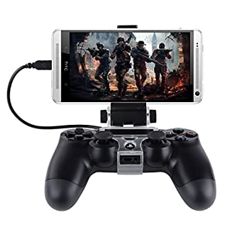 Koiiko PS4 Phone Holder, Flexible Smart Android Mobile Clamp Game Clip for Sony PS4 Playstation 4 Controller Dualshock 4 with Samsung Galaxy S8 S7 S6 S5 Edge Note Edge 6 5, HTC , Sony Xperia Z3- Black