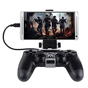 Megadream Flexible Universal Smart Android Handy Klemme Spiel Clip für PS4 Playstation Controller mit Android Handy Samsung Galaxy S6 Edge S5 S4 Note4 Note3, HTC, Sony Xperia Z3 Z2 Schwarz