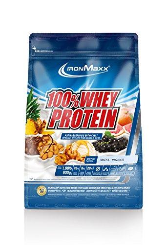 IronMaxx 100% Whey Protein Pulver / Proteinpulver auf Wasserbasis / Whey Eiweißpulver mit Maple Walnut Geschmack / 1 x 900 g Beutel