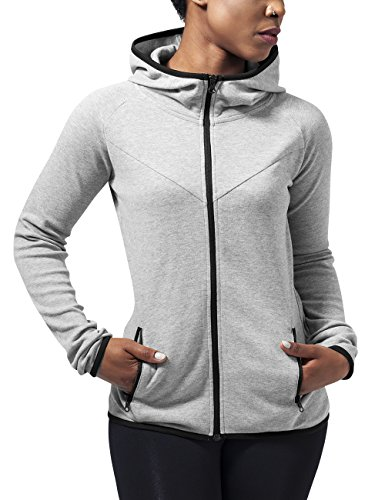 Urban Classics Damen Ladies Athletic Interlock Zip Hoody Kapuzenpullover, Grau (Grey 111), Medium Womens Hoodie Sweat