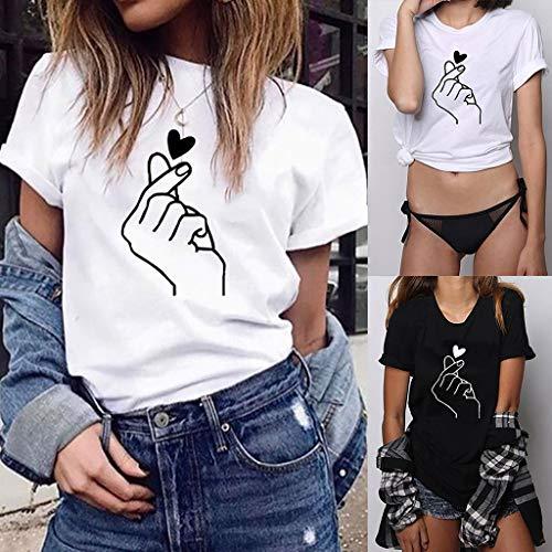 UFACE Damen Druck T-Shirt Lässige Oansatz Kurzarm T Shirt Bluse Tops Damen Kurzarm Casual Joker Top Bedrucktes kurzärmliges T-Shirt für Frauen