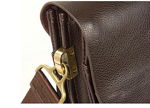 MissFox Herren Geschäft Tasche Vertikal Version Normallacks Verstellbaren und Abnehmbaren Schulterriemen Tasche Braun Groß