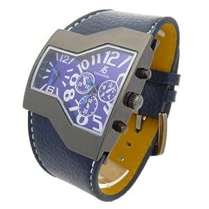 Montre Analogique Homme - bracelet Cuir synthétique Bleu - Cadran Rectangle Violet - CHALISSON - MC1220