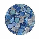 Creleo 790318 Mosaiksteine, Glitter Mix, 45 g, 10 x 10 mm, 190 Stück, blau