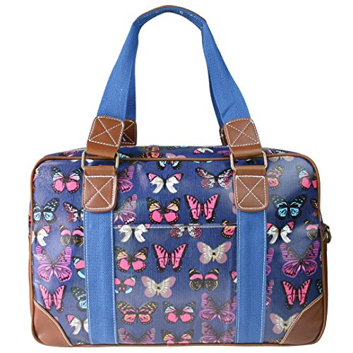 Miss Lulu , Damen Tote-Tasche Schmetterling Dunkelblau