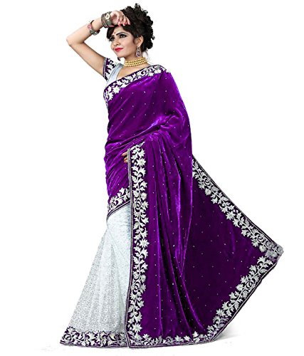 V-Art Women's Velvet & Net Saree With Blouse Piece (Purplevelvet_Purple)