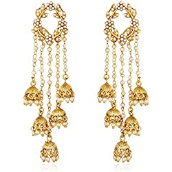 Shining Diva Fashion Jewellery Gold Plated Stylish Fancy Party Wear Pearl Jhumka Jhumki Traditional Earrings For Women & Girls