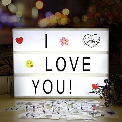 Lightbox - Caja de luz LED infinitoo A4 con 98 letras y 28 símbolos blancos 55 coloridos emojis para decoración de iluminación interior, iluminación del estado de ánimo, luz de orientación nocturna, decoración de fiesta y casa