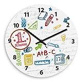 Wanduhr mit 1. Klasse-Motiv zur Einschulung für Mädchen | Kinderzimmer-Uhr | Kinder-Uhr