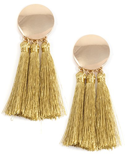 Happiness Boutique Damas Pendientes de Borla en Color Dorado | Pendien