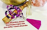 mala del perdono 70 perle di pietra agata viola facettato 8mm elastico con ciuffo + sacchetto colorato a nostra scelta + mantra del perdono