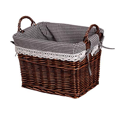 Unbekannt QIQIDEDIAN Wäschekorb Ablagekorb Bambus Rattan Snacks Kleidung Speicher Stoff ohne Abdeckung (größe : Large 42 * 28 * 37cm)