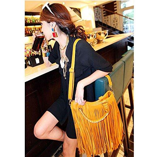 BOZEVON Damen Umhängetasche Schultertasche Troddel Tasche Handtasche Beutel PU Leder mit Reissverschluss - Schwarz Gelb