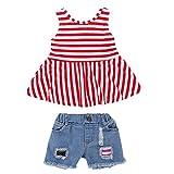 UOMOGO 2pcs Due pezzo Vestiti del Bambino Ragazza Bambino Maglietta a Striscia+ Pantaloncini in Denim (Età: 18~24 mesi, Rosso)