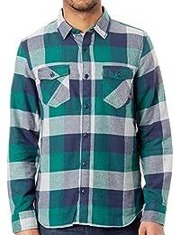 Vans Camisa de Manga Larga Box Flannel Evergreen-Gris Heather 6a1f23c448d