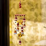 #5: ExclusiveLane 'Nature's Music' Hand-Painted Decorative Hanging Bells Wind Chime In Metal & Wood -Decorative Hanging Bells Home Decorative Pieces Wind Chimes For Home Balcony Wooden Wind Chimes Door Hangings Decoration Stylish Wall Decor And Hangings Door Decorative Hangings