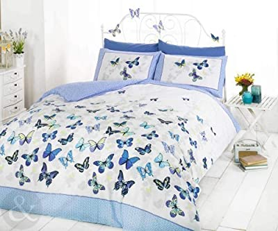 Girls Butterfly Bedding - Reversible Polka Dot Cotton Rich Duvet Cover Bed Set produced by Just Contempo - quick delivery from UK.