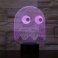 WoloShop Lampara LED Pac-Man Fantasma Cambia Color USB Luz Nocturna