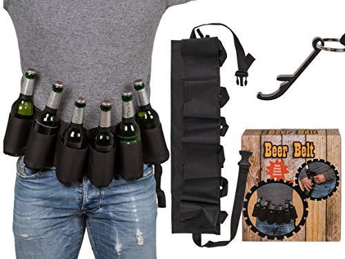 Bada Bing Bier Gürtel Schwarzer Flaschenhalter für 6 Flaschen Inkl. Metall-Flaschenöffner Für Unterwegs Bierhalter Männer Geschenk Gag JGA 96