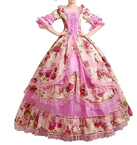 Marie Rosa Kostüme Antoinette (Nuoqi®Damen Satin Gothic Victorian Prinzessin Kleid Halloween Fancy Dress Cosplay Kostüm Party Maxi Kleid (Maßgeschneidert,)