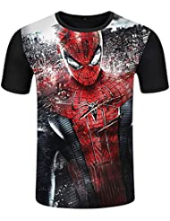 T-SHIRT BOY Maglietta da Uomo, Stampa 3D Spider-Man Manica Corta, Marvel Heroes Avengers League