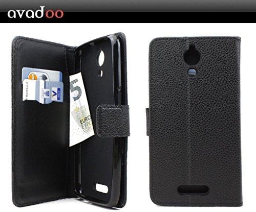avadoo® Archos 50 Power Flip Case Cover Tasche Schwarz mit Magnetverschluss und Dualnaht als Cover Tasche Hülle
