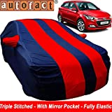 #8: Autofact Car Body Cover for Hyundai Elite I20 (Mirror Pocket , Premium Fabric , Triple Stiched , Fully Elastic , Red / Blue Color)
