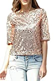 YACUN Damen Sequined Bluse 3/4 Arm Beiläufiges Hemd T-Shirt Pailletten Shirt Golden S