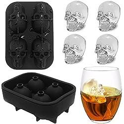 Cubitera de hielo 3D de silicona con 4 agujeros, diseño de calavera de grado alimenticio, para whisky, cócteles, caramelos y chocolate talla única negro