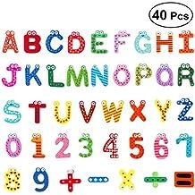 OUNONA Imanes para Refrigerador Nevera Madera de cabrito de dibujos animados Número e alfabeto Nevera Imán