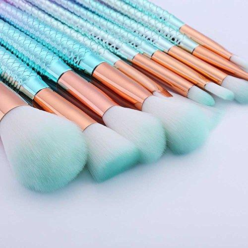 Makeup Brushes Set 10pcs Mermaid Makeup Brush Cosmetic Brushes Eyeshadow Eyeliner Blush Brushes