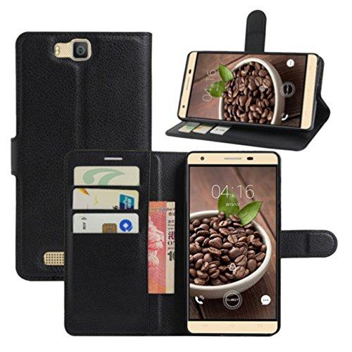 HualuBro Cubot H2 Hülle, [All Aro& Schutz] Premium PU Leder Leather Wallet HandyHülle Tasche Schutzhülle Case Flip Cover mit Karten Slot für Cubot H2 5.5 Inch Smartphone (Schwarz)
