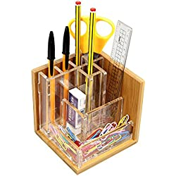 Organizador de escritorio de bambú, soporte para bolígrafos, recipiente para lápices
