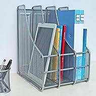 HETAO Bürobedarf Vierfach Finishing Lagerung Korb Kreativ Metall Desktop Mehrzweck Datei Rack , heighten triple silverEinfach und stilvoll
