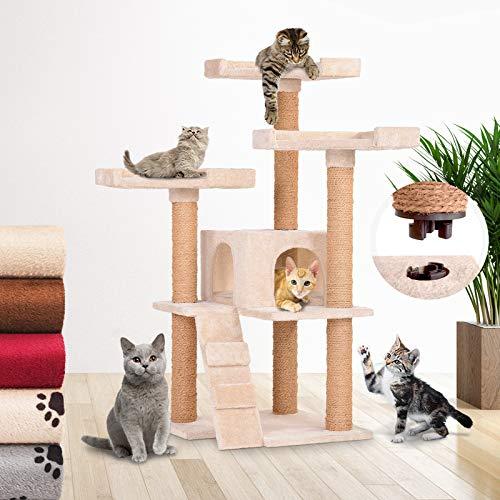 Katzen Kratzbaum mit 1 Höhle und 3 Plattformen - L/B/H: 72,8/71,4/113 cm, Farbwahl - Kletterbaum, Katzenbaum, Katzenmöbel, Kratzmöbel, Spielbaum