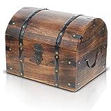 Große Schatztruhe Holztruhe Schatzkiste Vintage Look Antik Design Piraten Schatzsuche Holz Massiv Braun Spardose Schatulle Bauernkasse Box Sparkasse Holz-Truhe