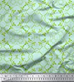 Soimoi Grun Baumwolle Ente Stoff Blätter Damast Stoff