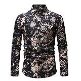 Camicia A Manica Lunga Uomo - 100% Cotone, T-Shirt Fiori Traspirante - Maglione Elegante Risvolto per Stampa Qinsling