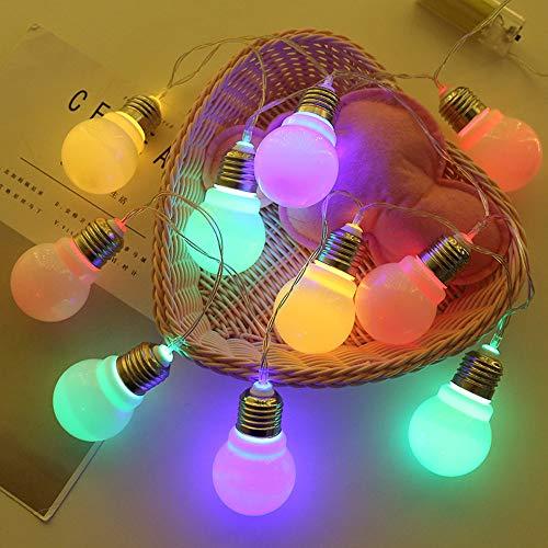 Lichterkette,FeiliandaJJ 1.5M 10LED Glühbirne Ball Weihnachten Dekoration LED Licht Party Halloween Innen/Außen Haus Deko String Lights 2xAA Batterie (Mehrfarbig) (Halloween-glühbirnen)