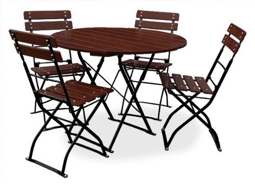 EuroLiving Bière de jardin 1 table Ø100 cm & 4 x Chaise Edition de Classic Châtaigne/Noir