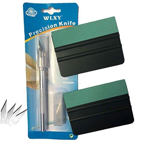 Preisvergleich Produktbild HDM Werkzeuge 2 Stü weiche Rakel in schwarz-Grün / Größe 10x7.3x0.4 CM + 30 Grad Handwerksmesser mit Sicherheitskappe und 5 Rasierklinge - Folienrakel mit 5cm breit grüner Filzkante aus Lammpelzfell - zur Verklebung von Folie, Autofolierung, Möbelfolierung, Wandtattoos, Fliesenaufklebern, Fensterfolie, Schutzfolie usw. + 1 Jährige Garantie