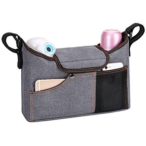 JERRYBOX Borsa organizer per passeggino, Borsa fasciatoio multifunzione portatile - si adatta a qualsiasi tipo di passeggino - ha due scomparti per biberon o bottiglie - è molto capiente, ha spazi appositi per l'iPhone, per l'iPad, per i pannolini, per i giocattoli e per molto altro, con tracolla