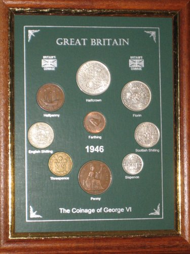 Framed 1946 GB Great Britain British Coin Birth Year Vintage Retro Gift Set (71st Birthday Present or Wedding Anniversary)