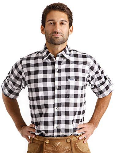 ALMBOCK Trachtenhemd Herren kariert | Slim-fit Männer Hemd schwarz-weiss kariert | Karo Hemd aus 100{9833762e47d5b60f8392f753d2137e7b11ed06c1bbed64c571fdb855fbe02cf5} Baumwolle in den Größen S-XXXL