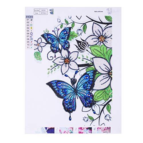 antmalerei, Kristall-Strass-Stickerei, Gemälde, Kunstwerke für Zuhause, Wanddekoration, bunt, spezielle geformte Diamant-Gemälde, Kreuzstich-Blumen I ()
