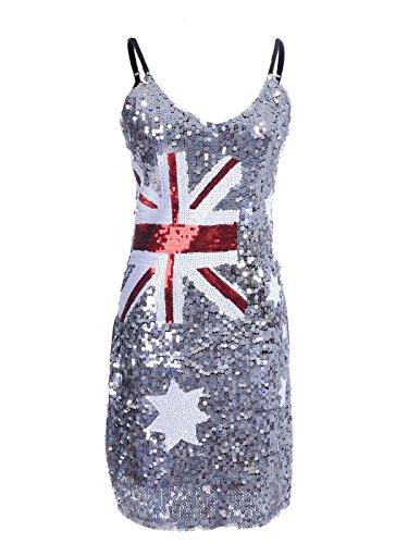 Anna-Kaci donna lustrini decorazione con Bandiera australiana Inspired antiscivolo vestito Argento