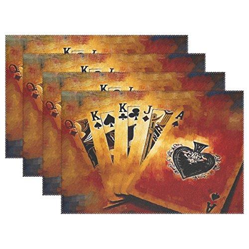 LIANCHENYI Retro Vintage Poker Karten hitzebeständig Platzsets, Polyester Platzset Tischset für Küche Esszimmer 1Stück