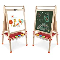 Arkmiido wooden art easel for kids,kids easel,Height Adjustable Wooden Easel,Whiteboard Chalkboard,for 3 4 5 6 7 8 9 10 year old Boy Girls