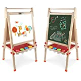Arkmiido wooden art easel for kids,kids easel,Height Adjustable Wooden Easel,Whiteboard Chalkboard,4 in 1